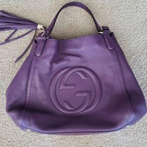 Soho Tassel Handbag Purple Calfskin Hobo